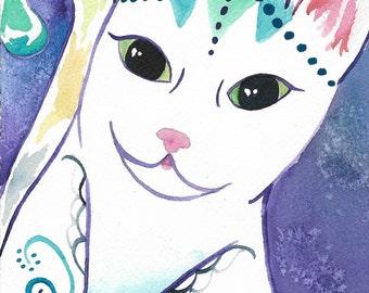 Cat Watercolor Print