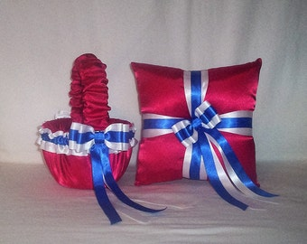 Red  White  And  Blue  Horizon Ribbon Trim Flower Girl Basket And Ring Bearer Pillow