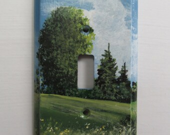 Single Switch Plate  Hand Painted Summer Scene