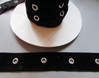 Black Velvet Eyelet Tape x 1 metre