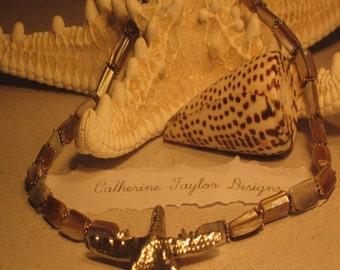 Beautiful Tan Shell Large Silver Starfish Necklace