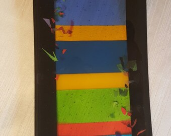 Fused Art Glass Plate 7 x 15