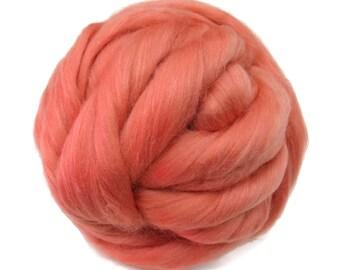 Merino / Silk  Roving, (Rouge)