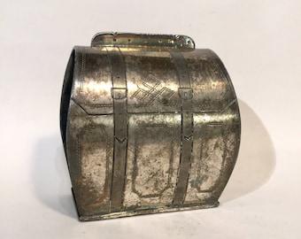 "Figural Napkin Ring, Victorian Silver Plate ""Luggage"", Ca: 1880s."