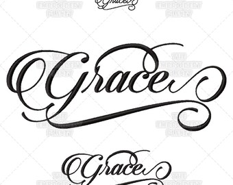 Script embroidery, calligraphy embroidery, calligraphy pattern, Grace, Christian embroidery, Christian supplies, Christian designs, patterns