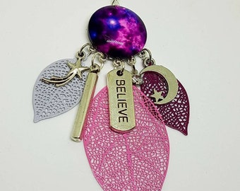 Earrings cabochon 20mm cosmic purple