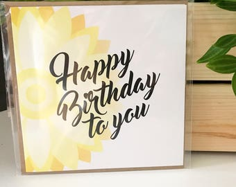 Geometric Floral Happy Birthday to You Card