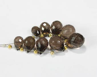40% Off, 9 Pcs Of Natural SMOKY QUARTZ, 9 - 14 mm Size, Teardrop Beads, Faceted Briolettes Cut Beads, +++ AAA Quality Smoky Beads Sm#838