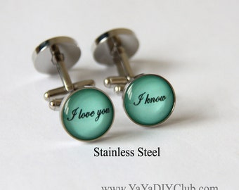 I love you I know cuff links, Unique gift for him, Wedding Gift for Groom gift from bride - Mint Green color Custom Cufflinks Custom Color