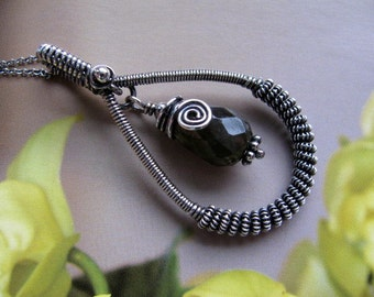 Wire Wrapped Sterling Silver Pendant, Labradorite Charcoal Black Handmade Pendant