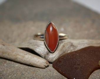 Marquise Cut Lake Superior Agate Cabochon Sterling Silver Ring Sz 7