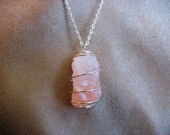 Himalayan salt pendant with 18in chain, rock salt pendant, Himalayan salt necklace