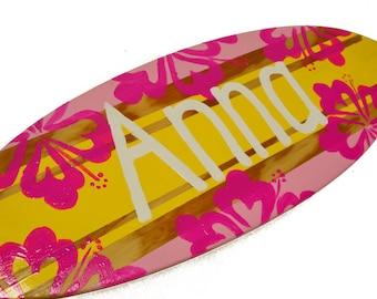 Surfboard Wall Art, Personalized Surf Board Wall Art, Surfer Girl Beach Nursery Decor, Surfboard with Name Sign, Beach Sign, Surf Decor