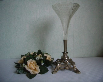 Antique french Vase, Art Nouveau cut glass base regule