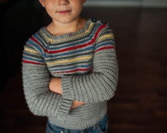 Inline Pullover Kids Crochet Sweater Pattern Knit Look No. 4
