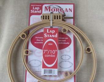 """Morgan Lap Stand ~ No Slip Hoop~ Combo 7"""" & 10"""" - Great for Punch needle, Embroidery, Cross Stitch, or Quilting - Needle Punch - PunchNeedle"""