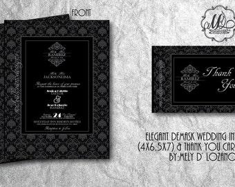 Elegant Demask Wedding Invitation & Thank You Card