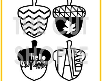 The Nuts About Fall cut file set includes 4 acorn images, that can be used for your scrapbooking and papercrafting projects.