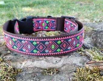 Aztec dog collar, dog collar, tribal dog collar, ethnic dog collar, dog collar. Unique dog collar. fancy dog collar, extra large dog collar
