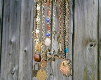Repurposed Recycled Pendants Keys Baubles Magpie Mobile #27