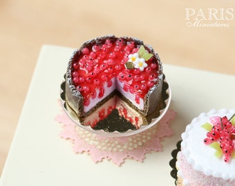 MTO-Red Currant Cheesecake - Miniature Food in 12th Scale for Dollhouse