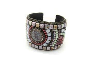 Bead embroidery bracelet - boho bracelet - multicolored beadwork bracelet - embroidered bracelet - adjustable cuff - Color Universe