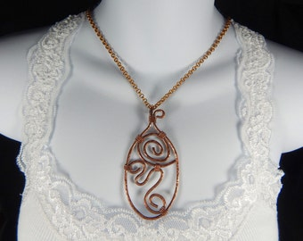 Swirly Copper Wire Wrapped Pendant