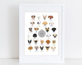 Dog Alphabet - Nursery Art Print
