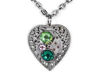 Steampunk Jewelry Necklace Watch Silver Filigree HEART Emerald Crystal, Bridesmaids, Anniversary, Holiday Gift Women - Steampunk Boutique