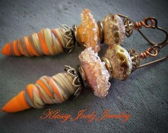 Glass Lampwork Beaded Earrings-Artisan Lampwork Earrings-Artisan Ceramic Raku Beaded Earrings-Tribal-Bohemian Earrings-SRAJD