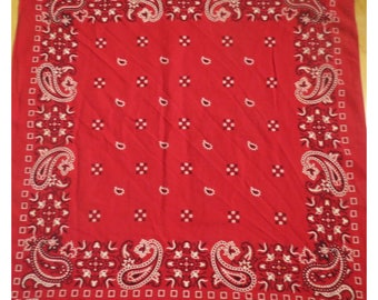 Vintage Red  Cotton Bandana   Free shipping  #83