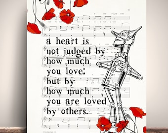 Wizard Of Oz Tin Man Heart Quote, If I only had a heart music sheet, Vintage Dictionary Art Print Giclee, Wizard of Oz Poster, Dorm Print