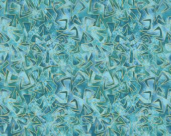 "NEW! Cat-I-Tude by Ann Lauer - Grizzly Gulch Gallery - REMNANT 24"" - Benartex - Triangular Motion Aqua - Blender - Tonal"