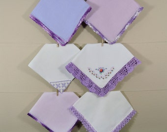 Purple Crochet Vintage Hankies / Crochet Edged Hankerchiefs / Landies Hankies