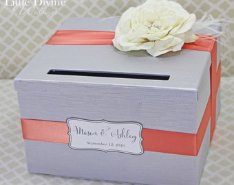 Wedding Card Box Silver and Coral Cream Rose Money Holder Customizable