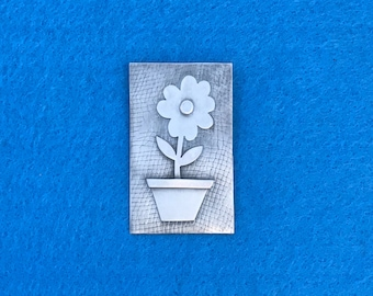 Sterling Silver Flower Pot Brooch