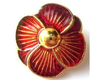 Vintage button red flower enamel metal rare