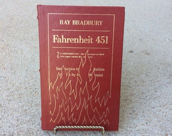 Fahrenheit 451 Ray Bradbury Book Collectors Gift Leather Bound Book Gift for Book Lover Vintage Classic Book Rare Book Special Edition Book