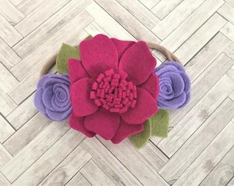 Felt flower headband - READY TO SHIP - nylon band -  Raspberry and lilac