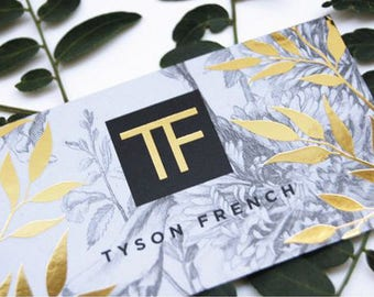 500 Business Cards - metallic foil stamped on 14 PT uncoated stock - gold, copper, silver - custom printed