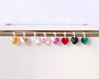 Swarovski heart earrings, tiny earrings