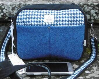 Blue Harris Tweed cross shoulder bag