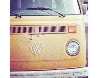 vintage volkswagen bus car photography / van, retro, mustard yellow, car, transportation, hippie / vw / 8x10 fine art photograph
