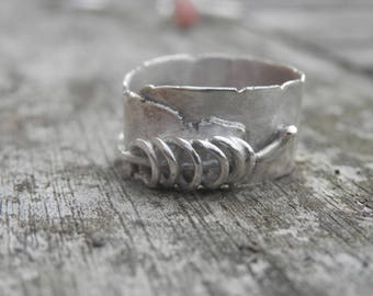Design creator T55, seal ring sterling silver ring contemporary ring, poetic, handmade, size 55