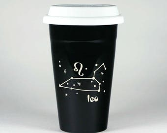 Leo Zodiac Travel Mug - Black insulated ceramic coffee cup w/ lid