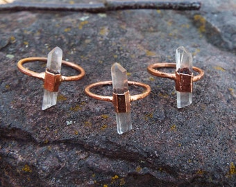 Mountain Crystal Ring, crystal ring, gemstone ring, Boho ring, raw crystal ring, quartz ring, mountain crystal ring, copper ring
