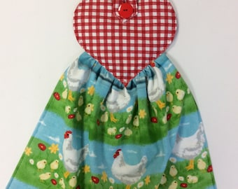 Hanging Oven/ Refrigerator Towel/Whimsical Chickens/Red Check