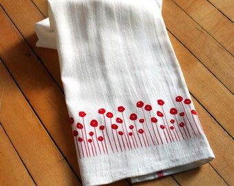 Set of Four Screen-printed Dish Towels with Red Poppies