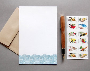 Letter Writing Kit: Waves, letterpress stationery with envelopes