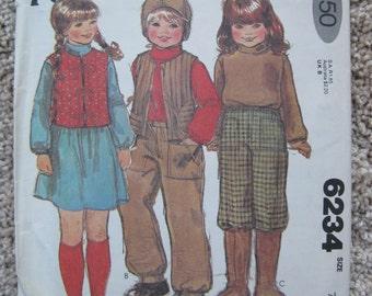 UNCUT Childrens Vest, Top, Pants, Hat and Girls Skirt - Size 7 - McCalls Pattern 6234 - Vintage 1978